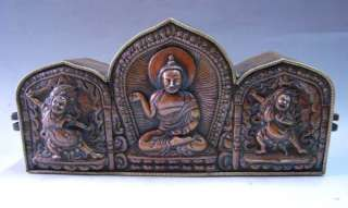 11 Old Tibet Tibetan Bronze 3 Buddha Ghau Shrine Box