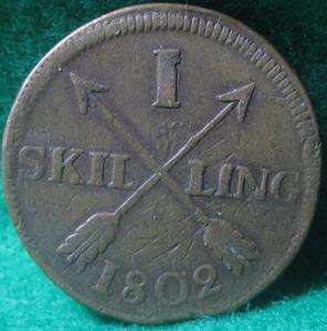 SWEDEN 1802 1 SKILLING COPPER Large coin