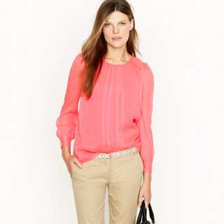 Silk pintuck blouse   blouses   Womens shirts & tops   J.Crew