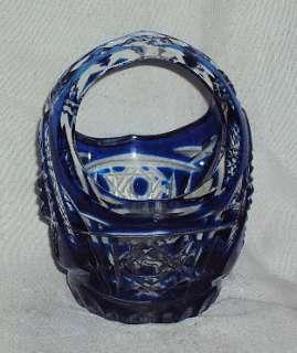 VINTAGE HEAVY CUT BLUE GLASS CRYSTAL BASKET