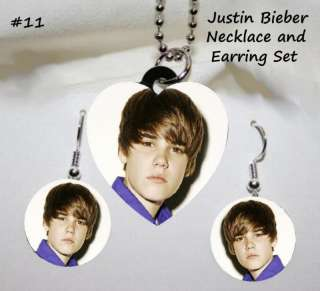 JUSTIN BIEBER Photo Charm Necklace & Earring Set #11
