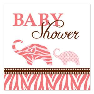 16 Wild Safari Pink Zebra Baby Shower Beverage Napkins 073525924953