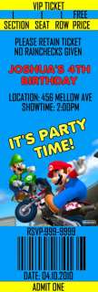 15 Super Mario Brothers Birthday Ticket Invitation w/ev
