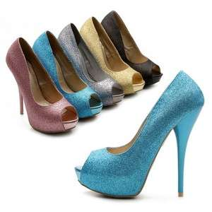Womens Shoes Platform Stilettos High Heels Pumps Glitter Multi Colored