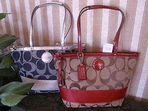 Signature Stripe Tote Bag Handbag Purse F17433 Denim Red FREE S&H