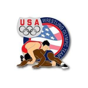 USOC Olympic Team Athletes Wrestling Pin  Sports