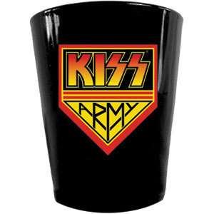 KISS ARMY LOGO BLACK SHOT GLASS 2oz NEW ROCK & ROLL