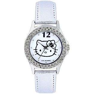 White Dial & White Leather Band  Hello Kitty Jewelry Watches Kids