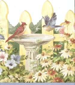 PICKET FENCE FLOWERS BIRDS BATH Wallpaper bordeR Wall