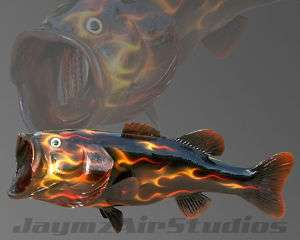Painted Airbrushed Realistic Fire Flame Largemouth Bass
