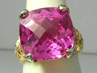 Gorgeous Pink Topaz & Diamond Ring 12cts