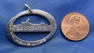 Vintage Silver SS OCEANIC HOME LINES Cruise Ship Charm marked STERLING