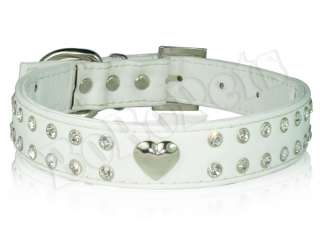 Rhinestones Crystal Heart leather Pet Cat Dog Collar