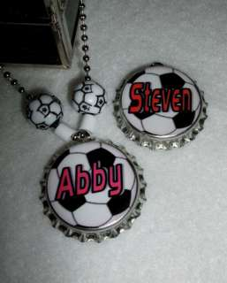 Soccer Mom or Name ~ BOTTLE CAP NECKLACE~ Personalized