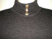 ST JOHN Collection DRESS 4 Charcoal Gray KNIT Eagle Crest BUTTONS