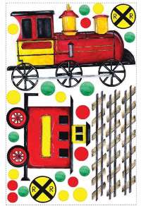 All Aboard Peel & Stick Wall Decals~Train~Tracks~Signs