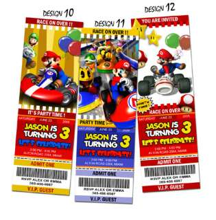 SUPER MARIO BROS BIRTHDAY PARTY INVITATION TICKET BROTHERS KART 1ST