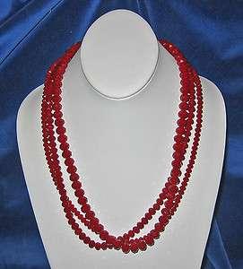 Donna Dressler Sterling Silver RED Swarovski Crystal Necklace