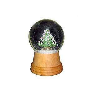 Christmas Tree Snow Globe with Wooden Base: Home & Kitchen