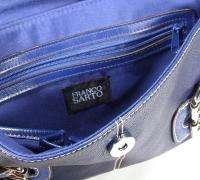 Ladies Franco Sarto Blue Pebbled Leather Purse Handbag Nice |