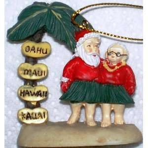 Hawaiian 3D Christmas Ornament Santa With Mrs. Kitchen
