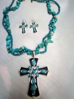 Turquoise CROSS Necklace Pendant EARRINGS SET 18 NU
