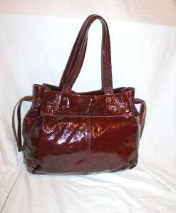 Genuine Patent Leather Large Tote Wine Red Burgundy Purse Shoulder Bag
