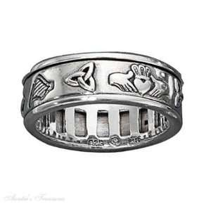 Unisex 7mm Wide Band Celtic Symbol Spinner Ring Size 14: Jewelry