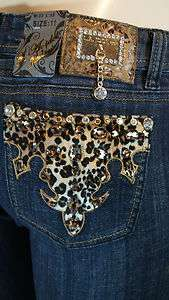 LA IDOL JEAN LEOPARD PRINT BLING SKINNY ALL SIZES 686NR