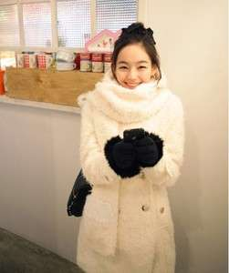 Womens Double breasted Jacket Coat With Scarf White Warm K102