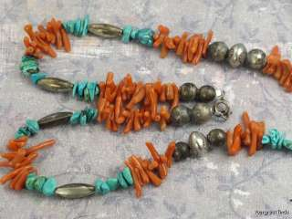 SOUTHWEST 925 STERLING SILVER BENCH BEAD CORAL TURQUOISE NAJA NECKLACE