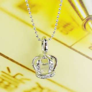 Solid Shiny Rhinestone Zircon Crown Pendant Long Chain Necklace TOP Q