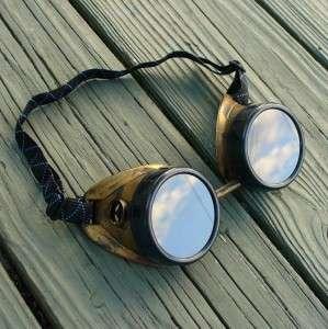 Steampunk Goggles Glasses cyber lens goth gold black
