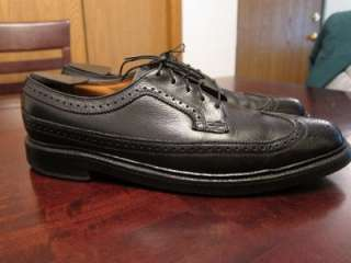 Vintage 1960s Florsheim Imperial V Cleat Black Leather Oxford Shoes Sz
