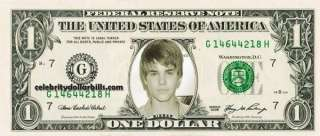 JUSTIN BIEBER #1 CELEBRITY DOLLAR BILL UNCIRCULATED MINT US CURRENCY