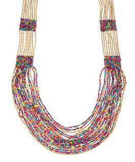 null (Multi Col) Multi Row Colourful Beaded Necklace  249995099  New