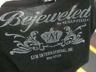 BEJEWELED Black Rhinestone Skull Detail T Shirt Top M