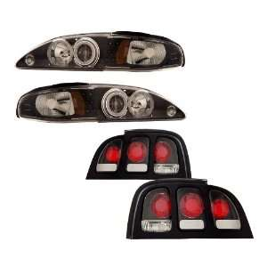 Ford Mustang Black CCFL Halo Projector Headlights + Tail Lights Combo