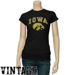 NCAA Iowa Hawkeyes Ladies Black Big Arch n Logo Vintage T