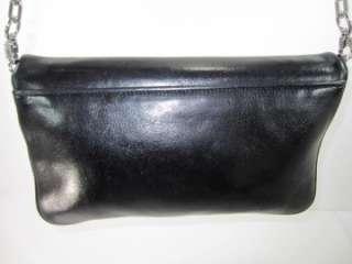 NWD TORY BURCH Black Amanda LOGO Flap Leather Clutch Messenger Bag
