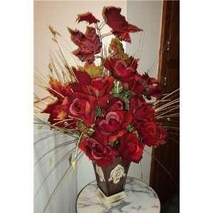 com New Red Rose & Fall Leaf Silk Flower Arrangement Home & Kitchen