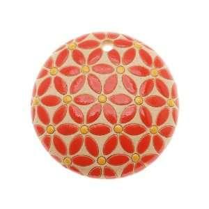 Golem Design Studio Glazed Ceramic Pendant Orange/Yellow Flower Design