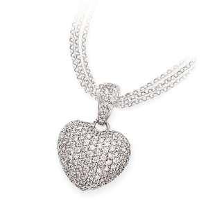 White Gold & Pave Diamond Heart Pendant / Enhancer (1.50ctw) Jewelry