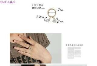 golden silver 18K plated clear diamond flower ring set