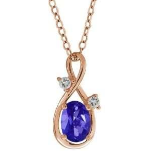 03 Ct Oval Tanzanite Blue Mystic Topaz and Topaz 18k Rose Gold Pendant