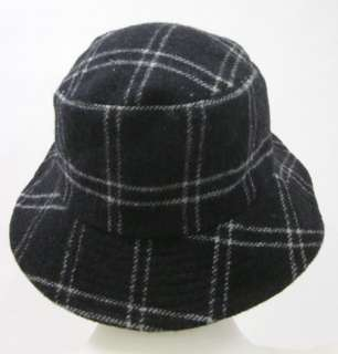 THE SCALA COLLECTION Black White Plaid Bucket Hat