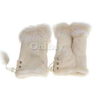Hand Wrist Warmer Fingerless Gloves Rabbit Fur Beige