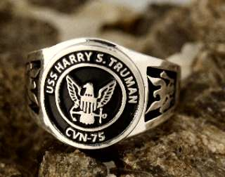 US Navy Ring USS Harry S Truman CVN 75 Sterling Silver