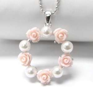 Pink Rose and Pearl Wreath Pendant White Gold Plated