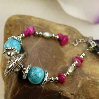 New Tibetan Silver Stone Seed Beads Wristband Bracelets
